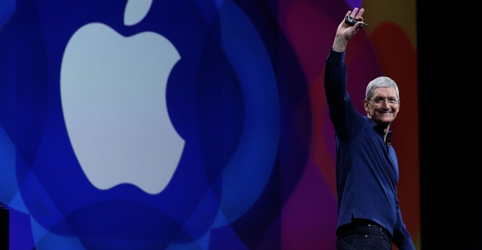 SAN FRANCISCO, CA - JUNE 08:  Apple CEO Tim Cook delivers the keynote address during Apple WWDC on June 8, 2015 in San Francisco, California. Apple annouced a new OS X, El Capitan, and a new iOS during the keynote at the annual developers conference that runs through June 12.  (Photo by Justin Sullivan/Getty Images)